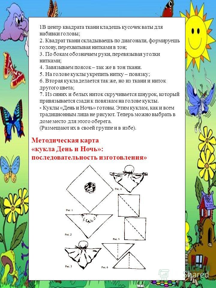 Методическая карта «кукла День и Ночь»: последовательность изготовления» 1В центр квадрата ткани кладешь кусочек ваты для набивки головы; 2. Квадрат ткани складываешь по диагонали, формируешь голову, перехватывая нитками в тон; 3. По бокам обозначаем