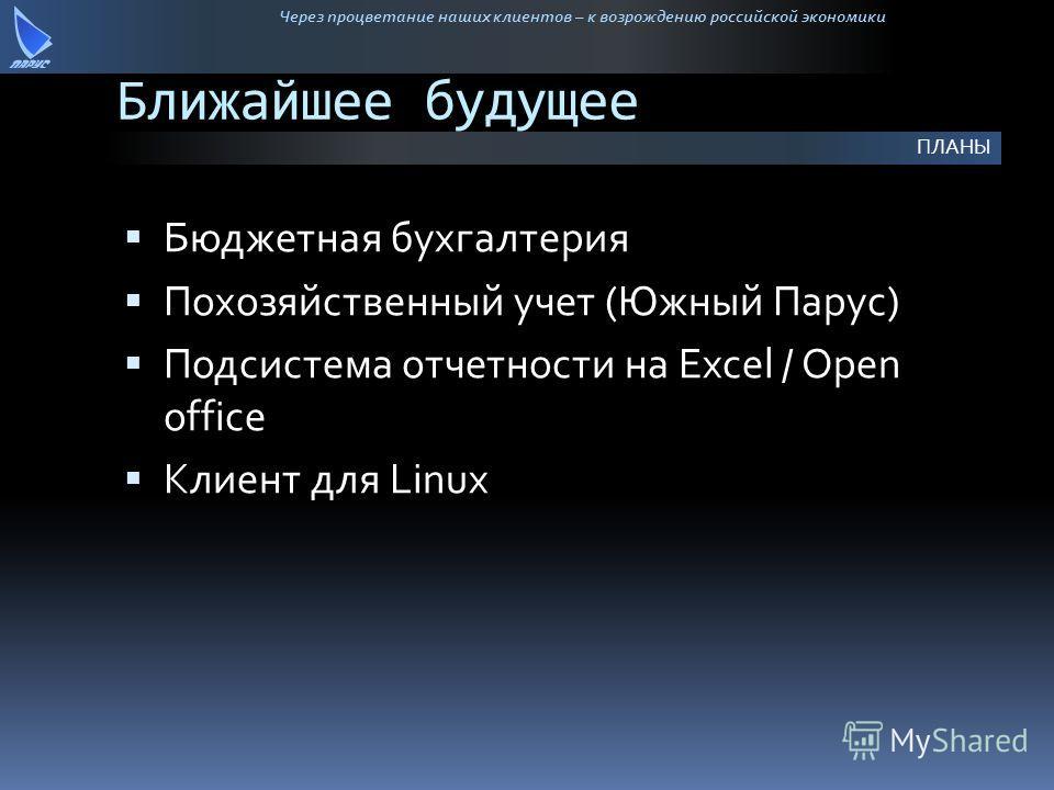 Через процветание наших клиентов – к возрождению российской экономики Ближайшее будущее Бюджетная бухгалтерия Похозяйственный учет (Южный Парус) Подсистема отчетности на Excel / Open office Клиент для Linux ПЛАНЫ