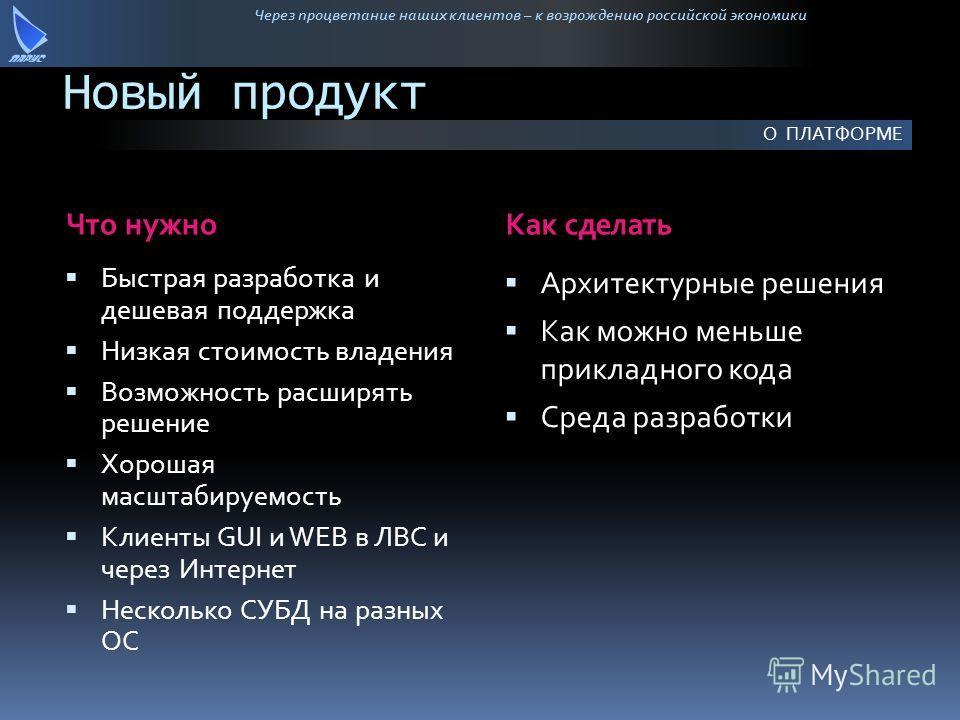 Через процветание наших клиентов – к возрождению российской экономики Новый продукт Что нужноКак сделать Быстрая разработка и дешевая поддержка Низкая стоимость владения Возможность расширять решение Хорошая масштабируемость Клиенты GUI и WEB в ЛВС и