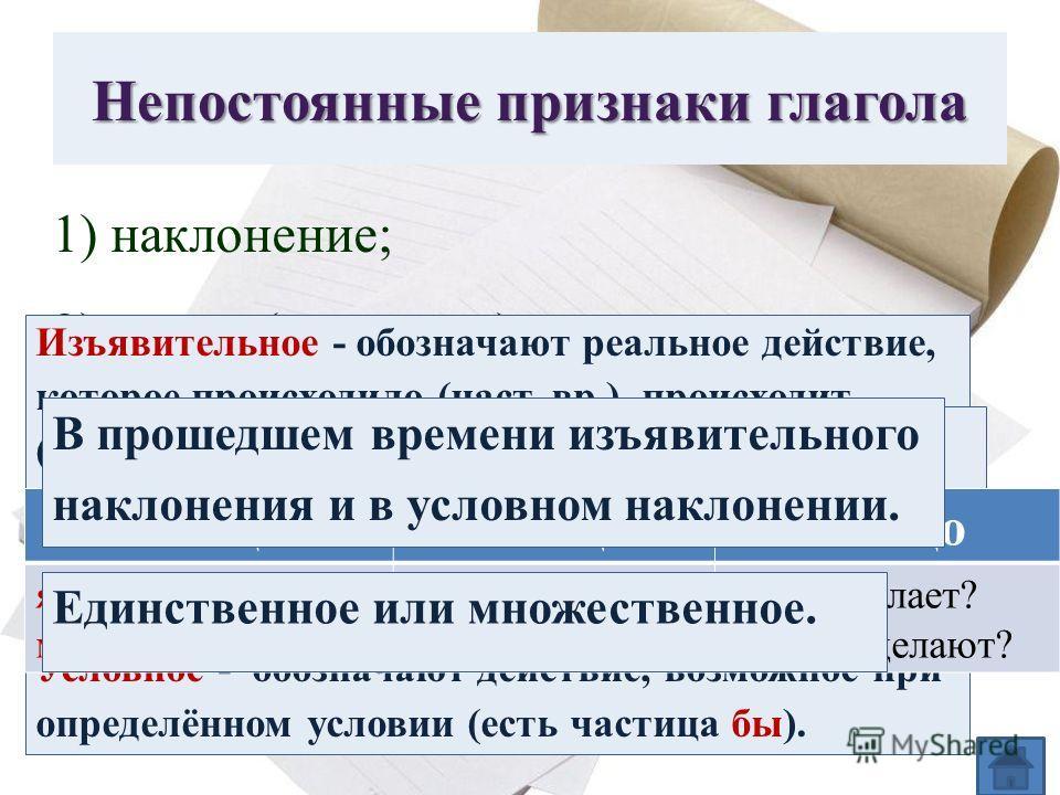 Непостоянные признаки глагола 1) наклонение; 2) время (если есть); 3) лицо (если есть); 4) число; 5) род (если есть). Изъявительное - обозначают реальное действие, которое происходило (наст. вр.), происходит (прош. вр.) или будет происходить (буд. вр