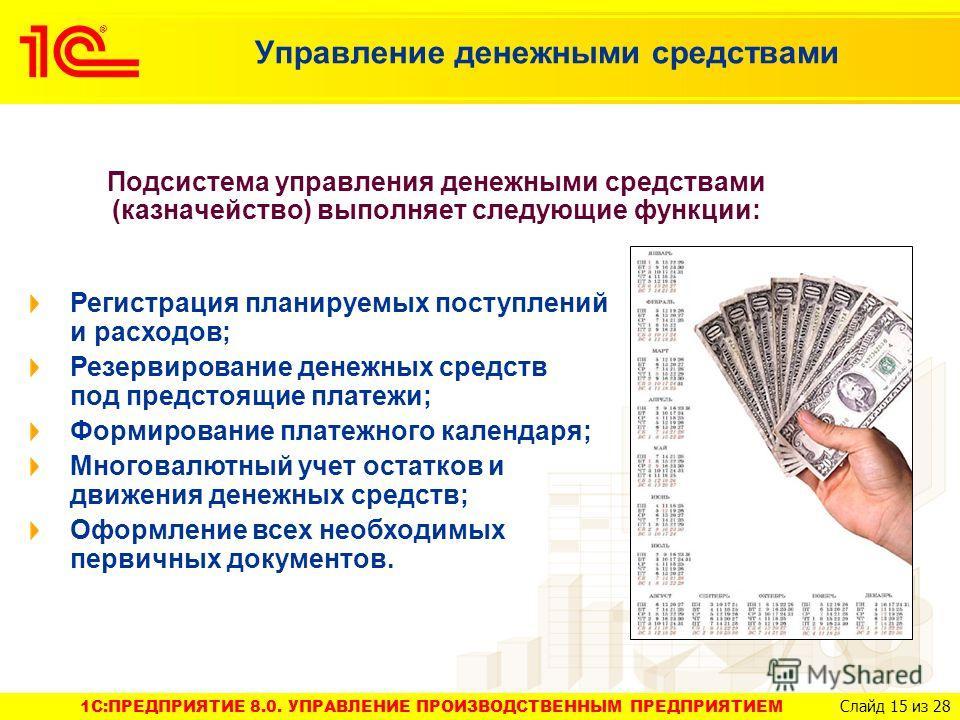 1C:ПРЕДПРИЯТИЕ 8.0. УПРАВЛЕНИЕ ПРОИЗВОДСТВЕННЫМ ПРЕДПРИЯТИЕМ Слайд 15 из 28 Управление денежными средствами Подсистема управления денежными средствами (казначейство) выполняет следующие функции: Регистрация планируемых поступлений и расходов; Резерви