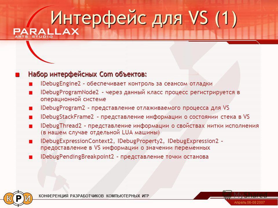 Апрель 06-08 2007 КОНФЕРЕНЦИЯ РАЗРАБОТЧИКОВ КОМПЬЮТЕРНЫХ ИГР Интерфейс для VS (1) Набор интерфейсных Com объектов: IDebugEngine2 – обеспечивает контроль за сеансом отладки IDebugProgramNode2 – через данный класс процесс регистрируется в операционной