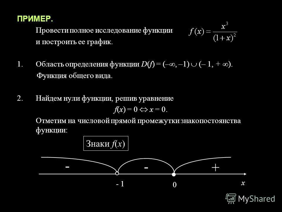 ПРИМЕР. Провести полное исследование функции и построить ее график. 1.Область определения функции D(f) = (–, –1) (– 1, + ). Функция общего вида. 2.Найдем нули функции, решив уравнение f(x) = 0 x = 0. Отметим на числовой прямой промежутки знакопостоян