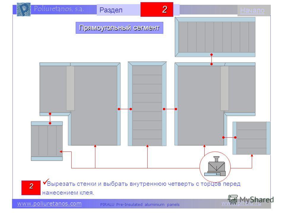 www.piralu.ru PIRALU Pre-Insulated aluminium panels www.poliuretanos.com Poliuretanos, s.a. www.piralu.ru PIRALU Pre-Insulated aluminium panels www.poliuretanos.com Poliuretanos, s.a. Начало2 Вырезать стенки и выбрать внутреннюю четверть с торцов пер