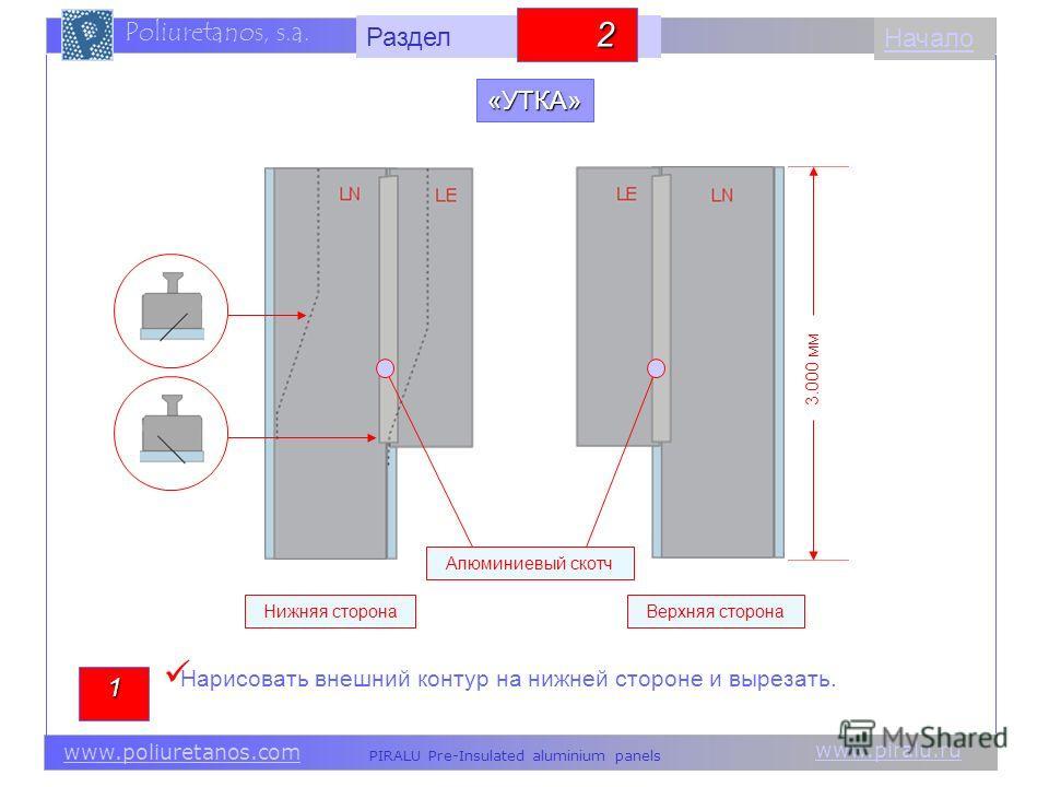 www.piralu.ru PIRALU Pre-Insulated aluminium panels www.poliuretanos.com Poliuretanos, s.a. www.piralu.ru PIRALU Pre-Insulated aluminium panels www.poliuretanos.com Poliuretanos, s.a. Начало«УТКА» 1 3.000 мм Нижняя сторонаВерхняя сторона Алюминиевый