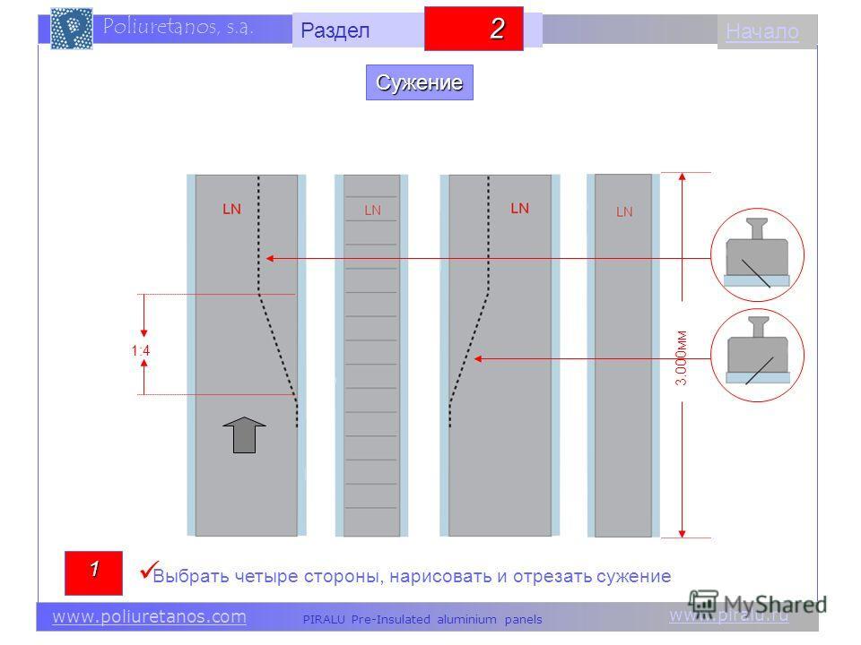 www.piralu.ru PIRALU Pre-Insulated aluminium panels www.poliuretanos.com Poliuretanos, s.a. www.piralu.ru PIRALU Pre-Insulated aluminium panels www.poliuretanos.com Poliuretanos, s.a. Начало Выбрать четыре стороны, нарисовать и отрезать сужение 1:4 1