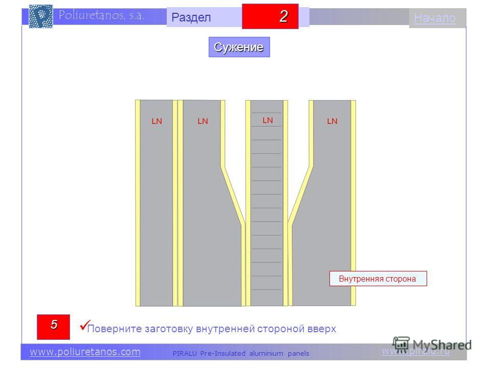 www.piralu.ru PIRALU Pre-Insulated aluminium panels www.poliuretanos.com Poliuretanos, s.a. www.piralu.ru PIRALU Pre-Insulated aluminium panels www.poliuretanos.com Poliuretanos, s.a. Начало Внутренняя сторона 5 Поверните заготовку внутренней стороно