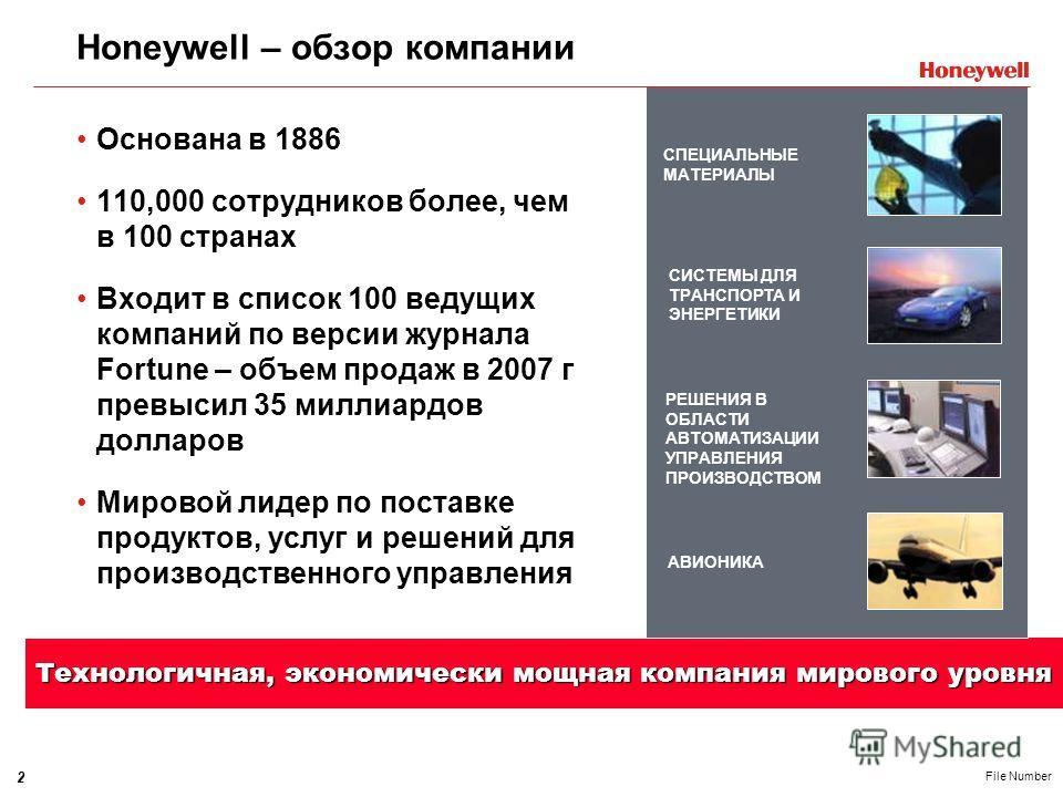 2 File Number Honeywell – обзор компании Основана в 1886 110,000 сотрудников более, чем в 100 странах Входит в список 100 ведущих компаний по версии журнала Fortune – объем продаж в 2007 г превысил 35 миллиардов долларов Мировой лидер по поставке про