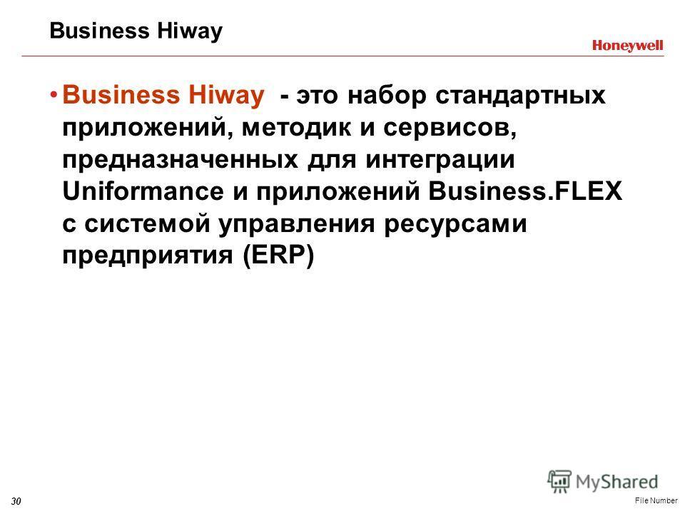 30 File Number Business Hiway Business Hiway - это набор стандартных приложений, методик и сервисов, предназначенных для интеграции Uniformance и приложений Business.FLEX с системой управления ресурсами предприятия (ERP)