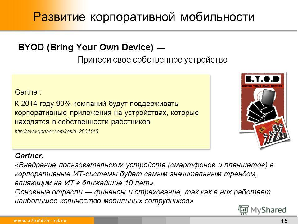 w w w. a l a d d i n – r d. r u Развитие корпоративной мобильности 15 BYOD (Bring Your Own Device) Принеси свое собственное устройство Gartner: К 2014 году 90% компаний будут поддерживать корпоративные приложения на устройствах, которые находятся в с