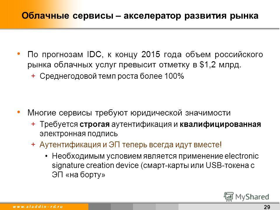 w w w. a l a d d i n – r d. r u Облачные сервисы – акселератор развития рынка По прогнозам IDC, к концу 2015 года объем российского рынка облачных услуг превысит отметку в $1,2 млрд. +Среднегодовой темп роста более 100% Многие сервисы требуют юридиче