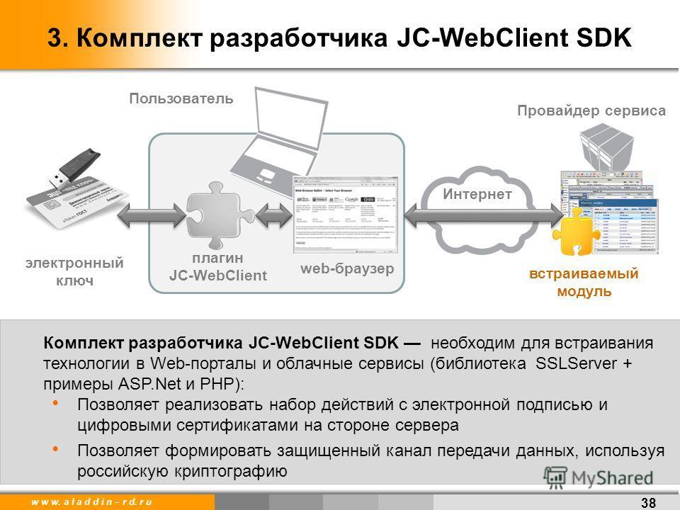 w w w. a l a d d i n – r d. r u 38 3. Комплект разработчика JC-WebClient SDK Интернет Провайдер сервиса web-браузер плагин JC-WebClient Пользователь электронный ключ встраиваемый модуль Комплект разработчика JC-WebClient SDK необходим для встраивания