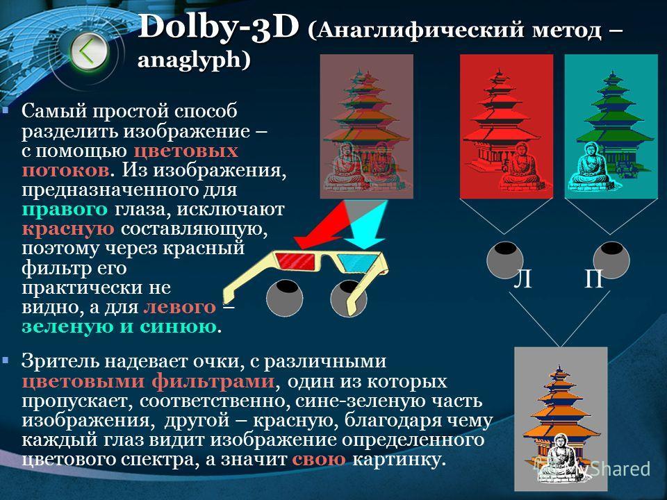LOGO www.themegallery.com Dolby-3D (Анаглифический метод – anaglyph) Самый простой способ разделить изображение – с помощью цветовых потоков. Из изображения, предназначенного для правого глаза, исключают красную составляющую, поэтому через красный фи