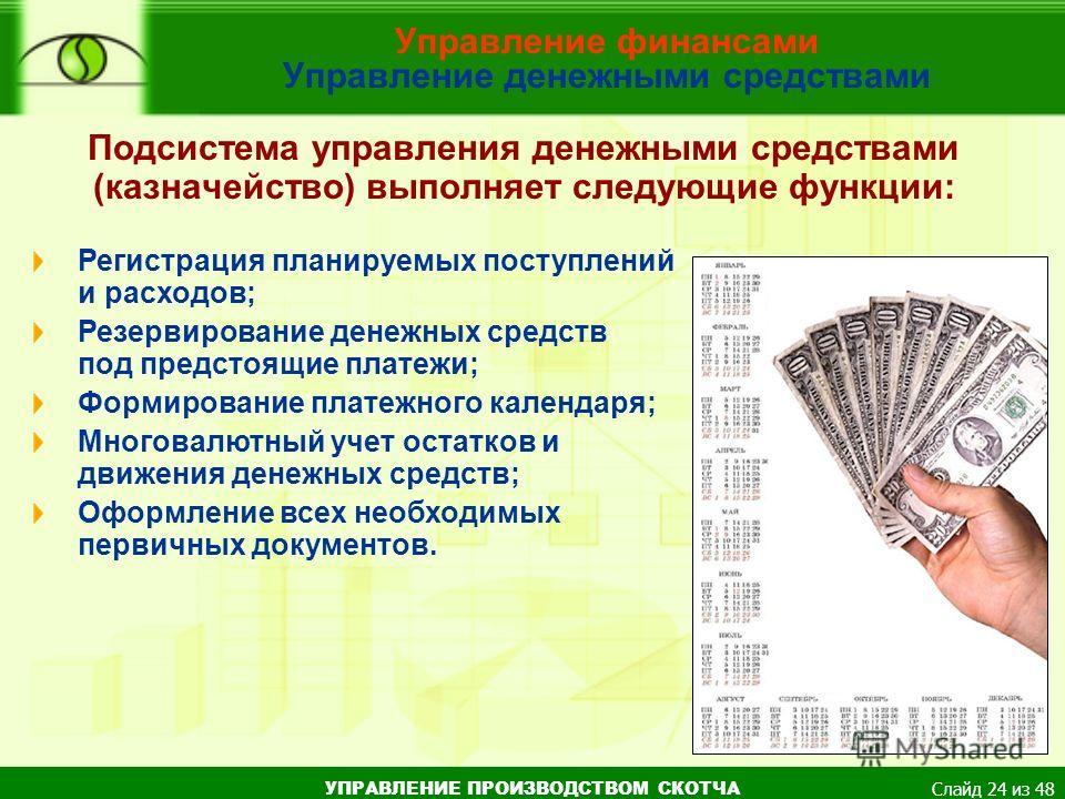 УПРАВЛЕНИЕ ПРОИЗВОДСТВОМ СКОТЧА Слайд 24 из 48 Управление финансами Управление денежными средствами Подсистема управления денежными средствами (казначейство) выполняет следующие функции: Регистрация планируемых поступлений и расходов; Резервирование