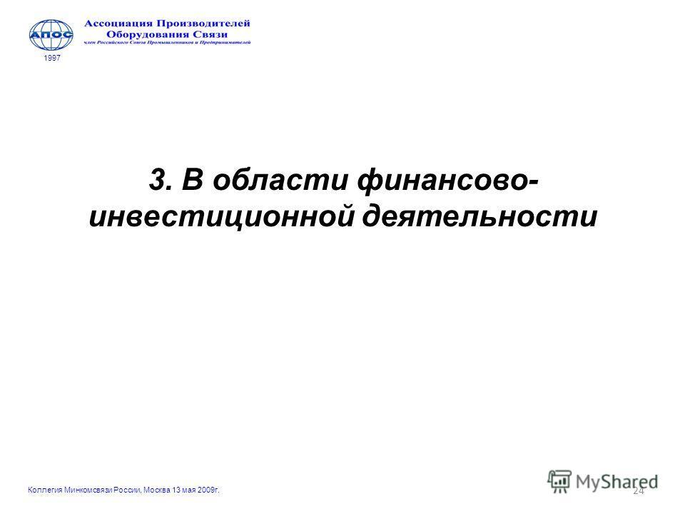 24 3. В области финансово- инвестиционной деятельности 1997 Коллегия Минкомсвязи России, Москва 13 мая 2009г.