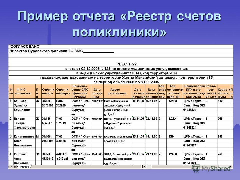 Пример отчета «Реестр счетов поликлиники»