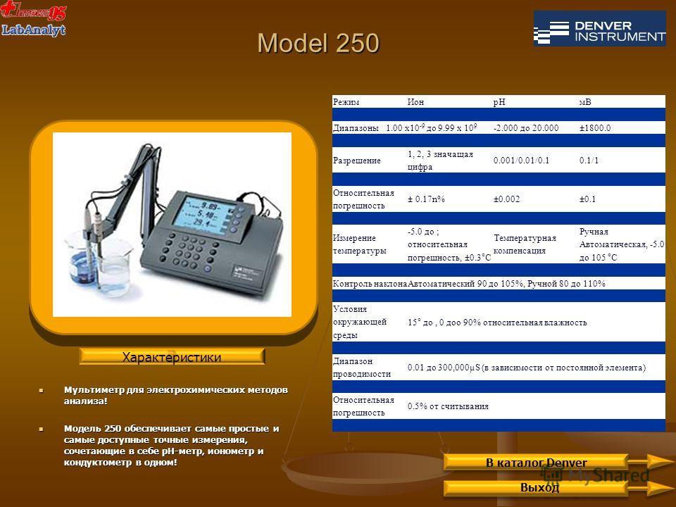Model 250 Мультиметр для электрохимических методов анализа! Мультиметр для электрохимических методов анализа! Модель 250 обеспечивает самые простые и самые доступные точные измерения, сочетающие в себе рН-метр, ионометр и кондуктометр в одном! Модель