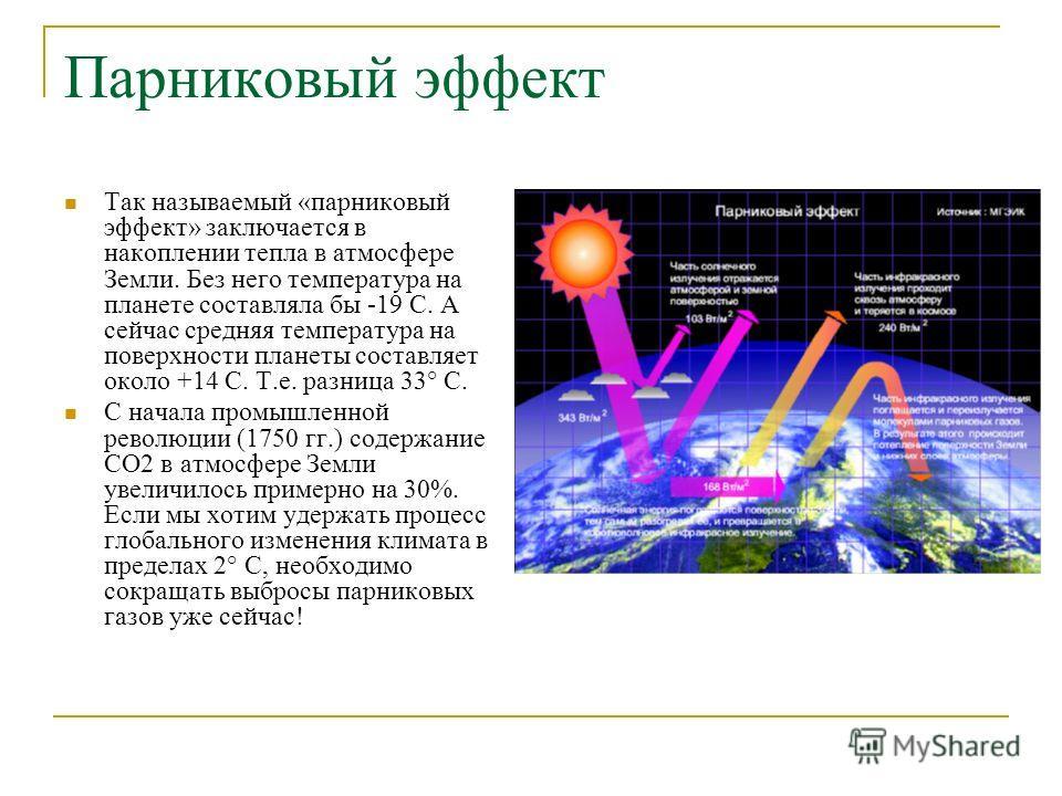 Парниковый эффект Так называемый «парниковый эффект» заключается в накоплении тепла в атмосфере Земли. Без него температура на планете составляла бы -19 С. А сейчас средняя температура на поверхности планеты составляет около +14 С. Т.е. разница 33° С