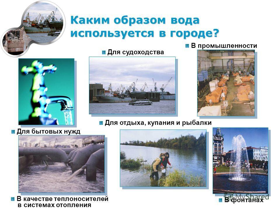Каким образом вода используется в городе? Для бытовых нужд В промышленности В качестве теплоносителей в системах отопления Для судоходства Для отдыха, купания и рыбалки В фонтанах