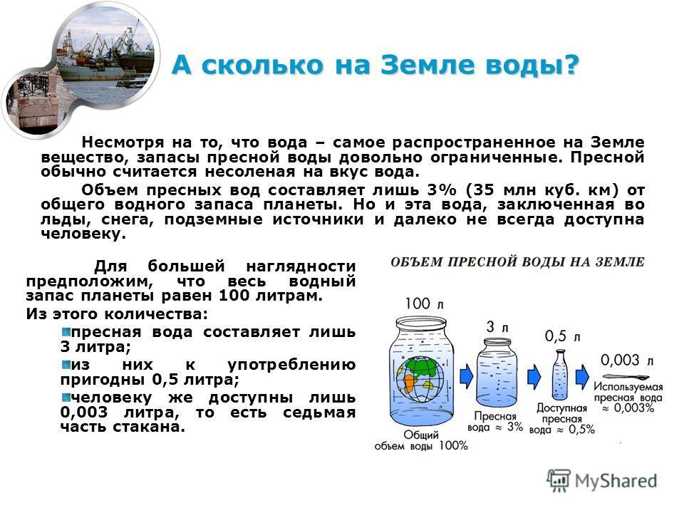 Несмотря на то, что вода – самое распространенное на Земле вещество, запасы пресной воды довольно ограниченные. Пресной обычно считается несоленая на вкус вода. Объем пресных вод составляет лишь 3% (35 млн куб. км) от общего водного запаса планеты. Н