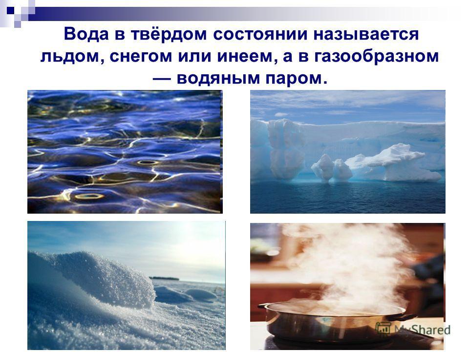 Вода в твёрдом состоянии называется льдом, снегом или инеем, а в газообразном водяным паром.