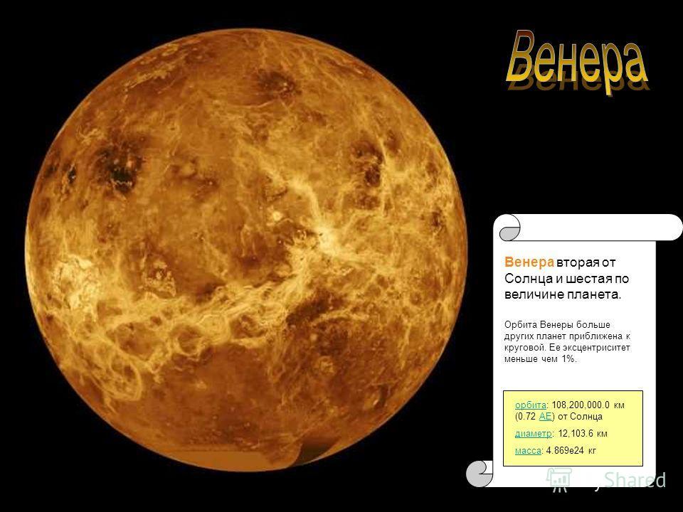 Венера вторая от Солнца и шестая по величине планета. орбитаорбита: 108,200,000.0 км (0.72 АЕ) от СолнцаАЕ диаметрдиаметр: 12,103.6 км массамасса: 4.869e24 кг Орбита Венеры больше других планет приближена к круговой. Ее эксцентриситет меньше чем 1%.