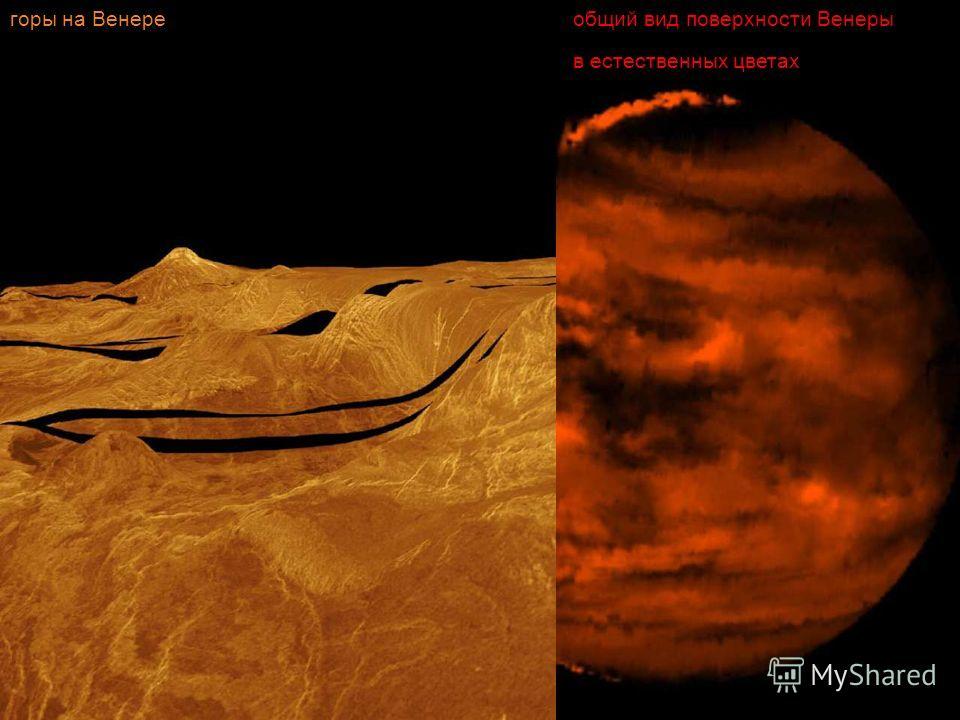 общий вид поверхности Венеры в естественных цветах горы на Венере
