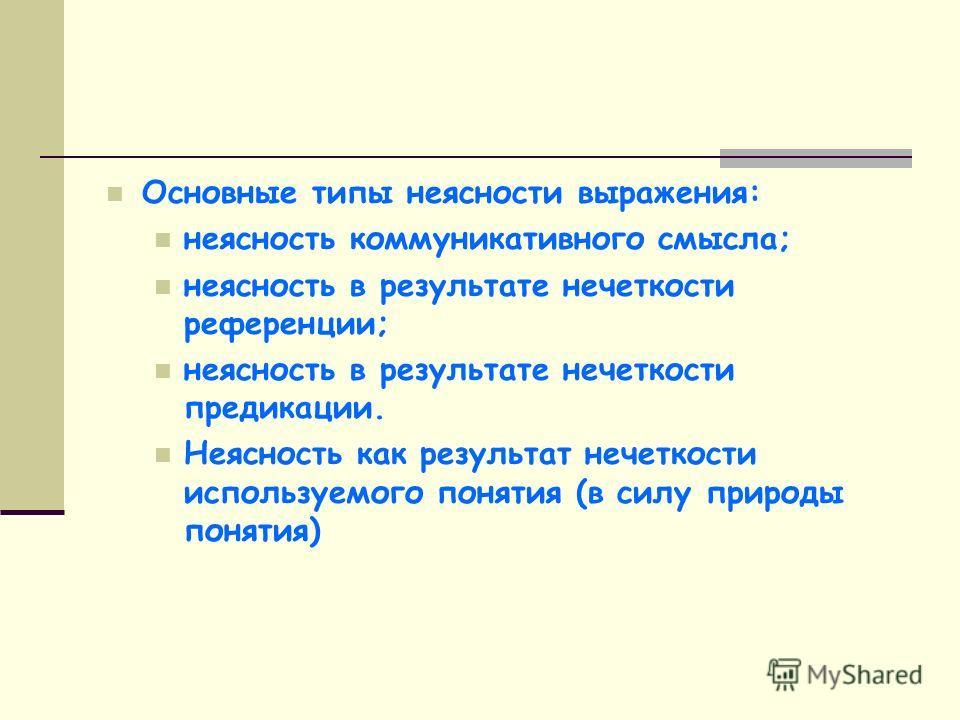 Основные типы неясности выражения: неясность коммуникативного смысла; неясность в результате нечеткости референции; неясность в результате нечеткости предикации. Неясность как результат нечеткости используемого понятия (в силу природы понятия)
