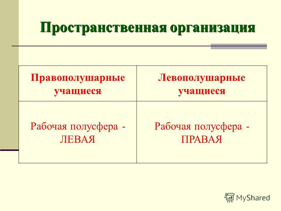 Пространственная организация Правополушарные учащиеся Левополушарные учащиеся Рабочая полусфера - ЛЕВАЯ Рабочая полусфера - ПРАВАЯ