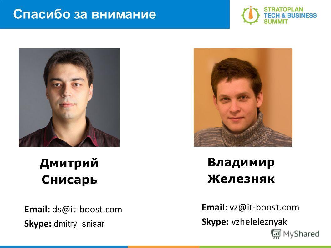 Спасибо за внимание Дмитрий Снисарь Владимир Железняк Email: vz@it-boost.com Skype: vzheleleznyak Email: ds@it-boost.com Skype: dmitry_snisar