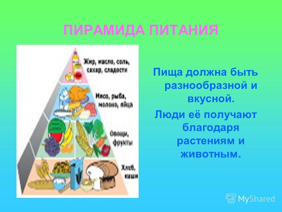 ПИРАМИДА ПИТАНИЯ Пища должна быть разнообразной и вкусной. Люди её получают благодаря растениям и животным.