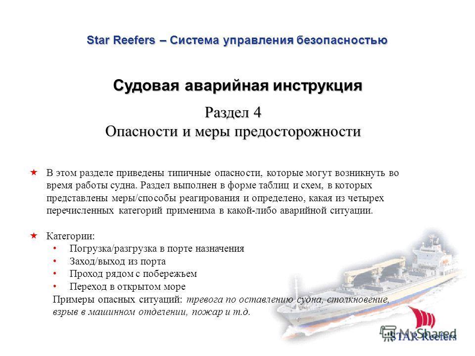 Star Reefers – Система управления безопасностью Судовая аварийная инструкция В этом разделе приведены типичные опасности, которые могут возникнуть во время работы судна. Раздел выполнен в форме таблиц и схем, в которых представлены меры/способы реаги