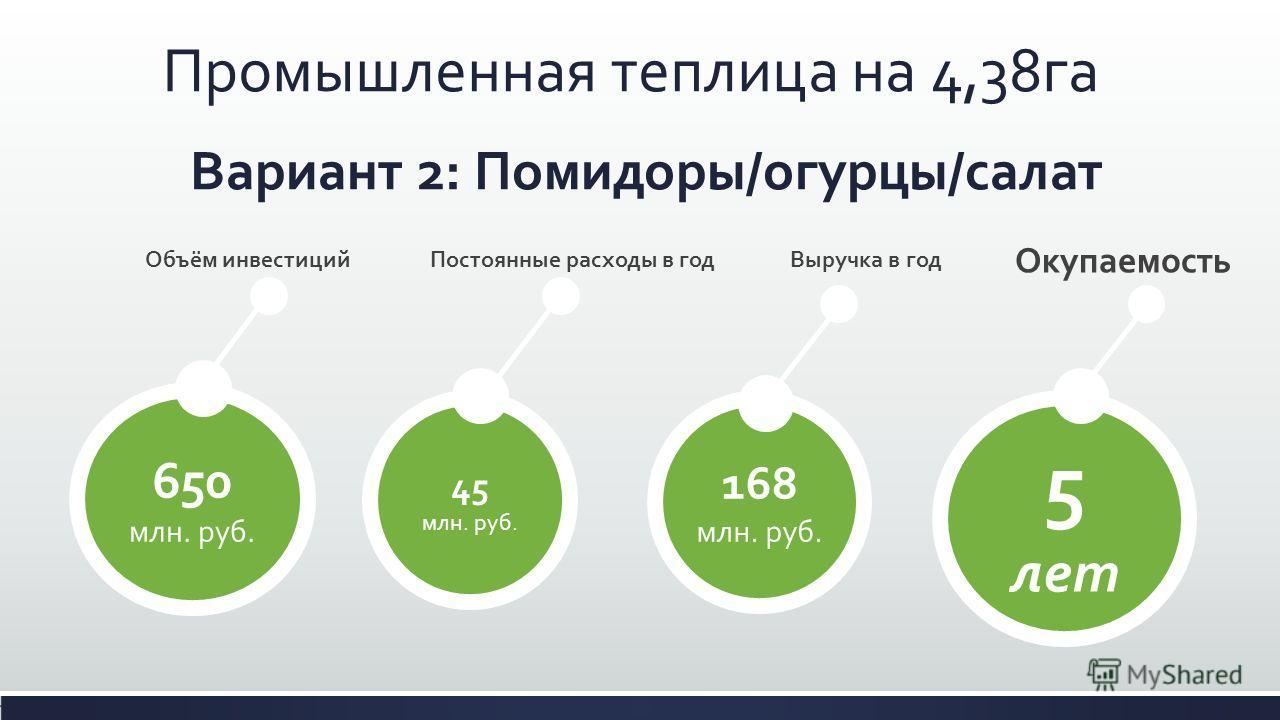 Вариант 2: Помидоры/огурцы/салат 650 млн. руб. 45 млн. руб. 168 млн. руб. Промышленная теплица на 4,38га Выручка в годПостоянные расходы в годОбъём инвестиций 5 лет Окупаемость
