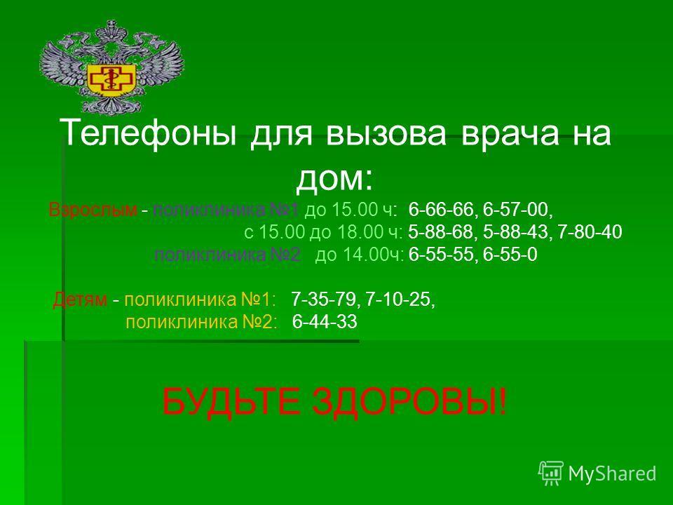 Телефоны для вызова врача на дом: Взрослым - поликлиника 1 до 15.00 ч: 6-66-66, 6-57-00, с 15.00 до 18.00 ч: 5-88-68, 5-88-43, 7-80-40 поликлиника 2 до 14.00ч: 6-55-55, 6-55-0 Детям - поликлиника 1: 7-35-79, 7-10-25, поликлиника 2: 6-44-33 БУДЬТЕ ЗДО