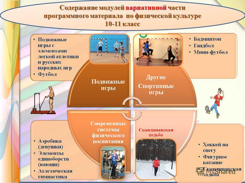 Содержание модулей вариативной части программного материала по физической культуре 10-11 класс