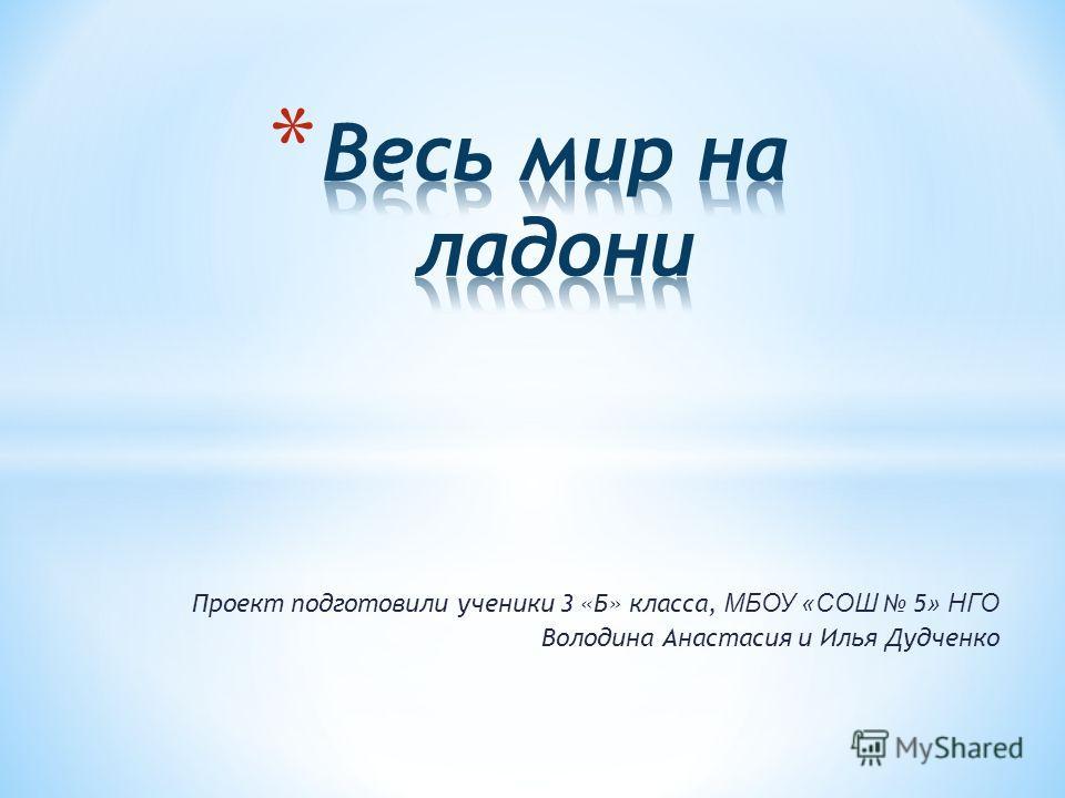 Проект подготовили ученики 3 «Б» класса, МБОУ «СОШ 5 » НГО Володина Анастасия и Илья Дудченко