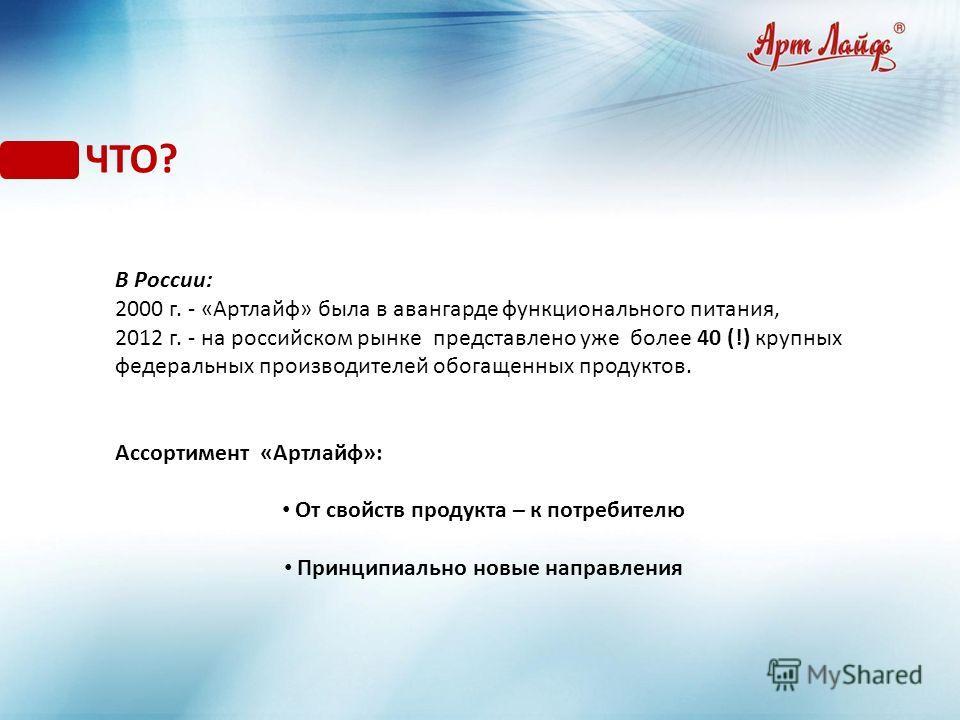 ЧТО? В России: 2000 г. - «Артлайф» была в авангарде функционального питания, 2012 г. - на российском рынке представлено уже более 40 (!) крупных федеральных производителей обогащенных продуктов. Ассортимент «Артлайф»: От свойств продукта – к потребит