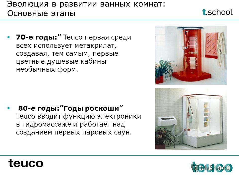 70-е годы: Teuco первая среди всех использует метакрилат, создавая, тем самым, первые цветные душевые кабины необычных форм. 80-е годы:Годы роскоши Teuco вводит функцию электроники в гидромассаже и работает над созданием первых паровых саун. Эволюция