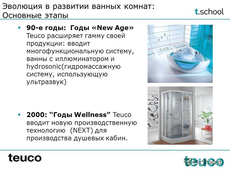 90-е годы: Годы «New Age» Teuco расширяет гамму своей продукции: вводит многофункциональную систему, ванны с иллюминатором и hydrosonic(гидромассажную систему, использующую ультразвук) 2000: Годы Wellness Teuco вводит новую производственную технологи