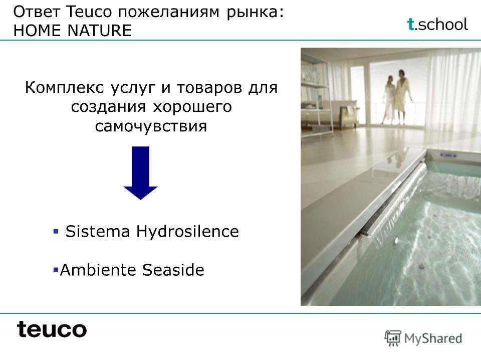 Ответ Teuco пожеланиям рынка: HOME NATURE Sistema Hydrosilence Ambiente Seaside Комплекс услуг и товаров для создания хорошего самочувствия