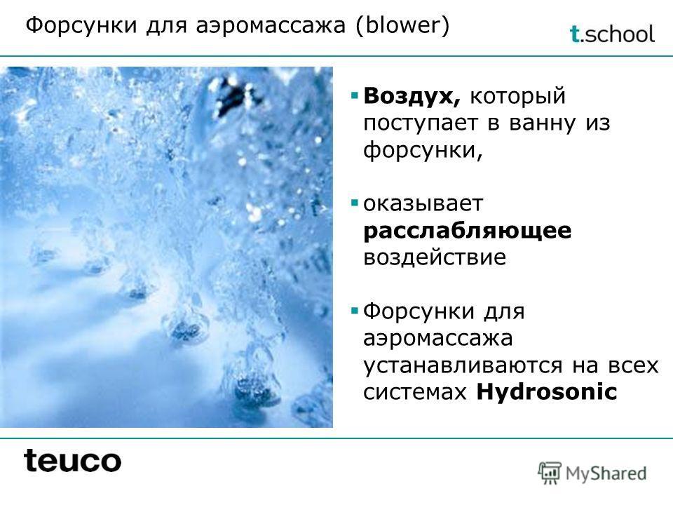 Форсунки для аэромассажа (blower) Воздух, который поступает в ванну из форсунки, оказывает расслабляющее воздействие Форсунки для аэромассажа устанавливаются на всех системах Hydrosonic