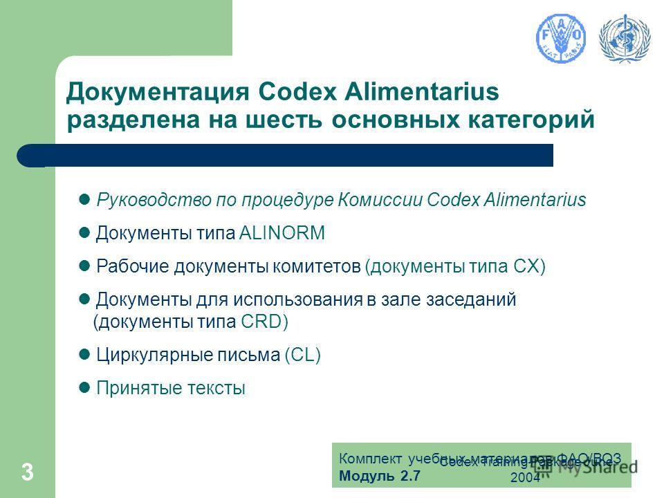 Комплект учебных материалов ФАО/ВОЗ Модуль 2.7 Codex Training Package June 2004 3 Документация Codex Alimentarius разделена на шесть основных категорий Руководство по процедуре Комиссии Codex Alimentarius Документы типа ALINORM Рабочие документы коми