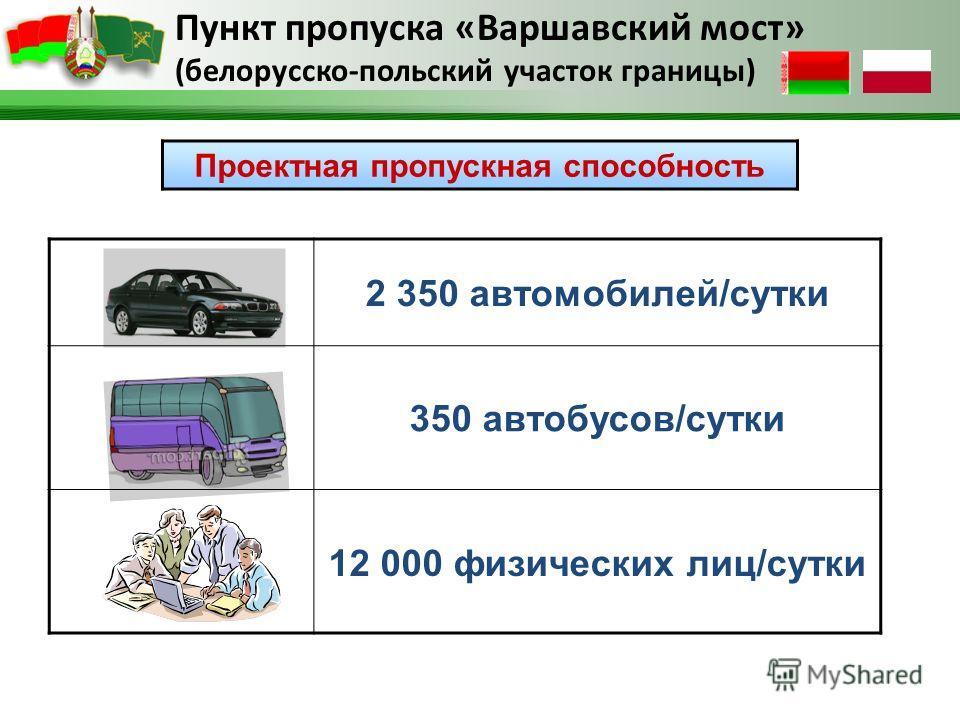 Пункт пропуска «Варшавский мост» (белорусско-польский участок границы) 2 350 автомобилей/сутки 350 автобусов/сутки 12 000 физических лиц/сутки Проектная пропускная способность
