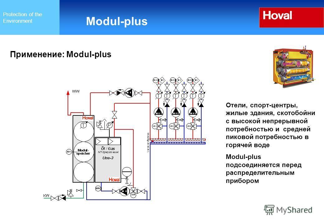 Protection of the Environment Modul-plus Применение: Modul-plus Отели, спорт-центры, жилые здания, скотобойни с высокой непрерывной потребностью и средней пиковой потребностью в горячей воде Modul-plus подсоединяется перед распределительным прибором