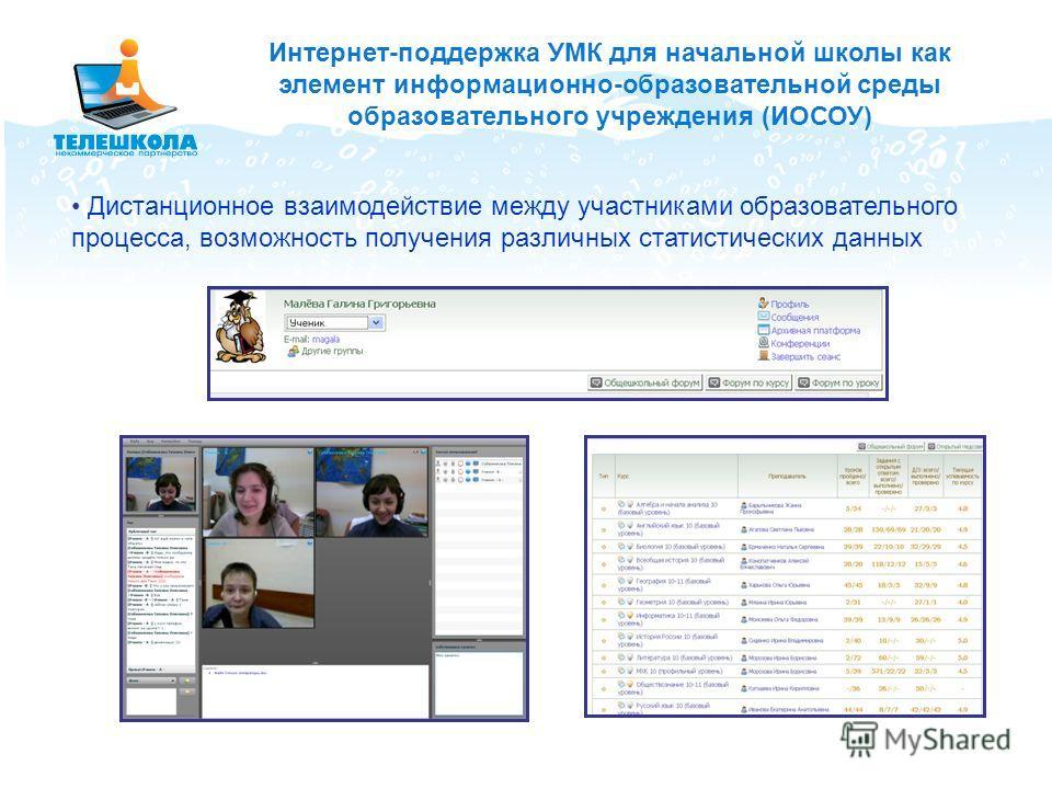 Дистанционное взаимодействие между участниками образовательного процесса, возможность получения различных статистических данных Интернет-поддержка УМК для начальной школы как элемент информационно-образовательной среды образовательного учреждения (ИО
