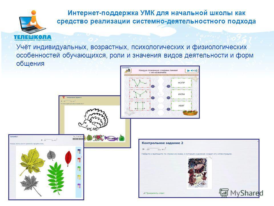 Интернет-поддержка УМК для начальной школы как средство реализации системно-деятельностного подхода Учёт индивидуальных, возрастных, психологических и физиологических особенностей обучающихся, роли и значения видов деятельности и форм общения