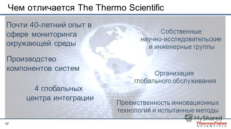 17 Чем отличается The Thermo Scientific Производство компонентов систем Организация глобального обслуживания Почти 40-летний опыт в сфере мониторинга окружающей среды Собственные научно-исследовательские и инженерные группы 4 глобальных центра интегр