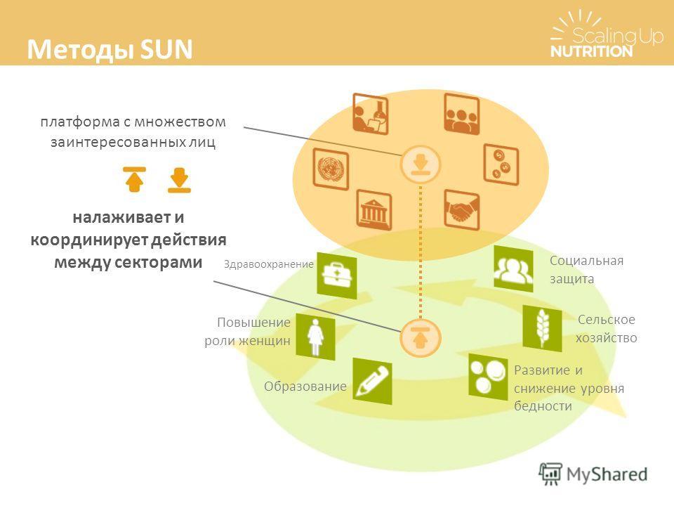 Методы SUN платформа с множеством заинтересованных лиц налаживает и координирует действия между секторами Повышение роли женщин Здравоохранение Развитие и снижение уровня бедности Сельское хозяйство Образование Социальная защита