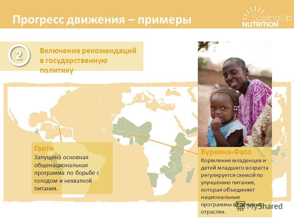 Прогресс движения – примеры Включение рекомендаций в государственную политику 2 2 Буркина-Фасо Кормление младенцев и детей младшего возраста регулируется схемой по улучшению питания, которая объединяет национальные программы в ключевых отраслях. Гаит