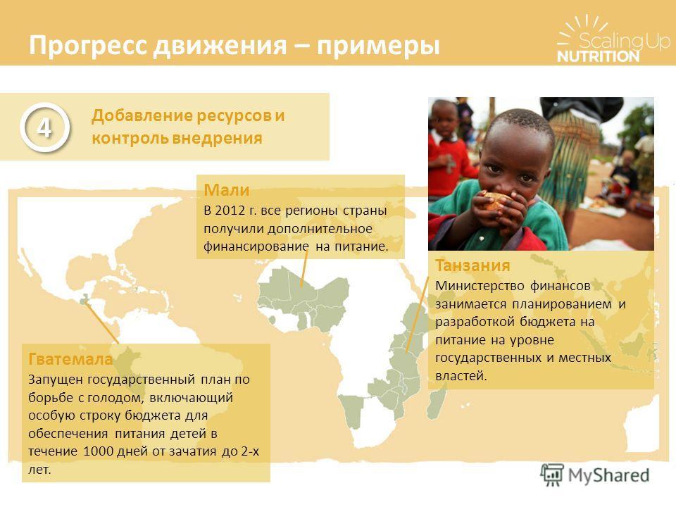 Прогресс движения – примеры Добавление ресурсов и контроль внедрения 4 4 Гватемала Запущен государственный план по борьбе с голодом, включающий особую строку бюджета для обеспечения питания детей в течение 1000 дней от зачатия до 2-х лет. Мали В 2012